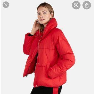 Express Red Puffer Coat